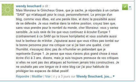 Wendy Bouchard veut la disparition du blog d'un Grincheux Grave