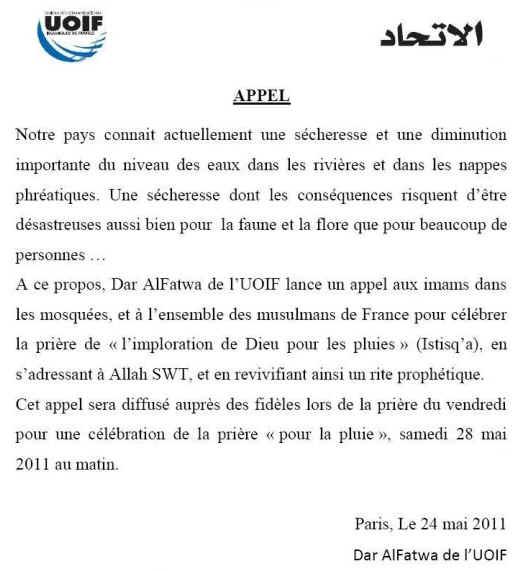Communiqué UOIF pour des prières pour la pluie - 24 mai 2011