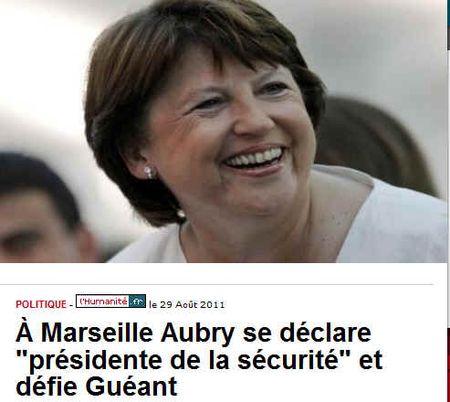 Aubry sera présidente de la sécurité