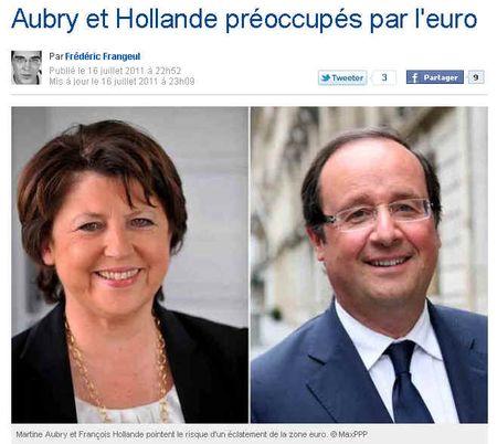 Aubry et Hollande au chevet de l'euro