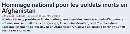 Hommage aux Invalides sur TF1 - 19 juillet 2011