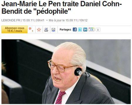 Le Pen traite Cohn-Bendit de pédophile au parlement européen- 14 sept 2011