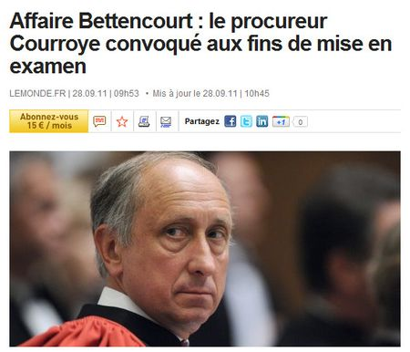 Courroye mis en examen dans l'affaire Bettencourt - 280911