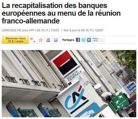 Recapitaliser les banques - Le Monde - 09 oct 2011