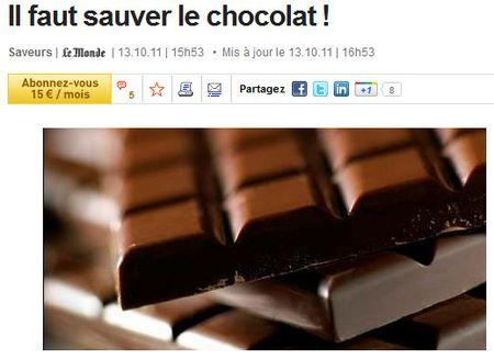 Il faut sauver le chocolat