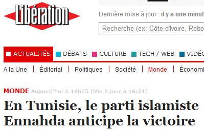 Tunisie-la parti islamiste anticipe la victoire