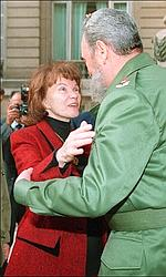 Danielle Mitterrand et Fidel Castro