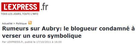 Blogueur de Strasbourg condamné à verser un Franc symbolique - 17.10.2011