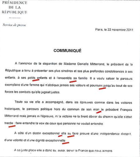 Communiqué de Presse Elysée hommage à Danielle Mitterrand- 22 novembre 2011