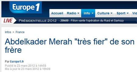 Abdelkader Merah fier de son frère - Europe1- 23.03.2012