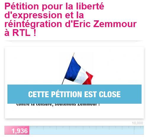 Pétition_Zemmour_fermée