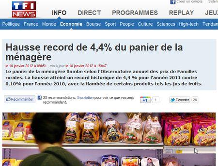 Hausse record du panier de la ménagère sur 2011