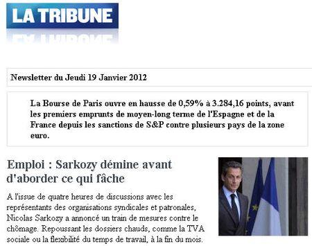 La Tribune 18.01.2012 - Emploi, éviter les sujets qui fâchent