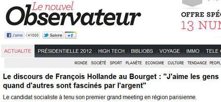Hollande aime les gens, pas l'argent