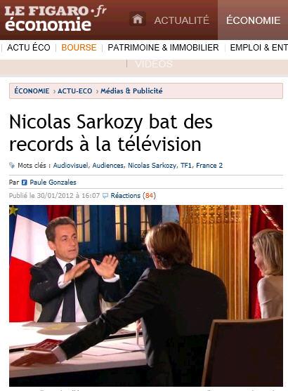 Le Figaro - Sarko bat des records à la télé - 30.01.2012