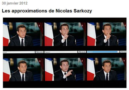 Le Monde - Les approximations de Sarkozy - 30.01.2012