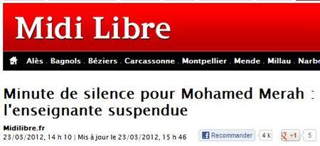 Une minute de silence pour Mohamed Merah