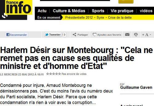 Harlem Désir réaction sur condamnation Montebourg - 22.05.2012