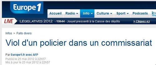 Viol d'un policier - Europe1 - 26.05.2012