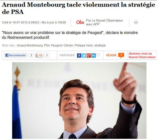 Arnaud Montebourg tacle PSA