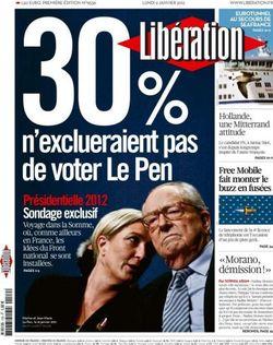 Libération -n'exclueraient pas de voter le pen- 9 janv 2012