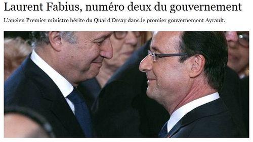 Fabius numéro deux du gouvernement Ayrault