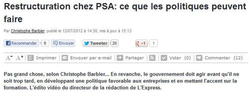L'EXPRESS-restructuration PSA-12.07.2012