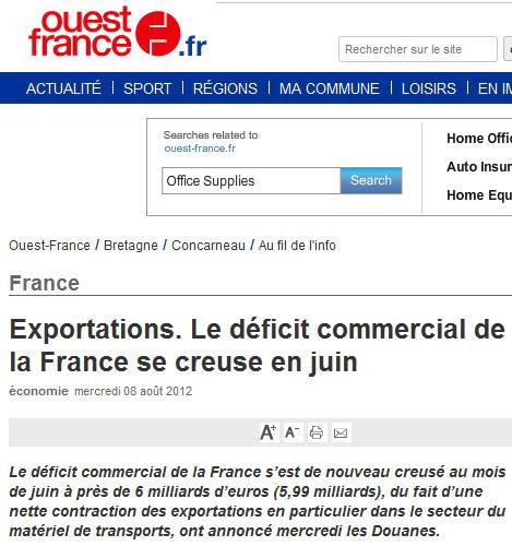 Deficit commercial en hausse - 8 août 2012