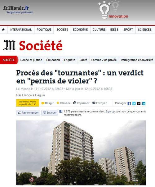 LE MONDE - procès des tournantes, permis de violer - 11.10.2012