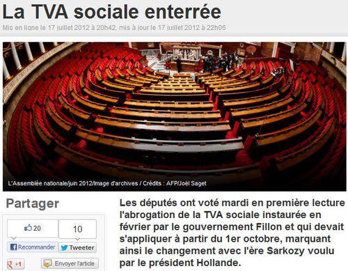La TVA sociale enterrée - 17juillet2012