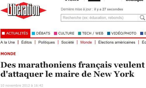 Libération-des marathoniens veulent d'attaquer le maire de New York - 10.11.2012