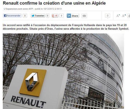 Renault usine à Oran en Algérie - 18.12.2012