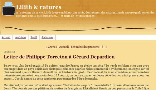 Torreton lettre à Depardieu-Libération du 18012.2012