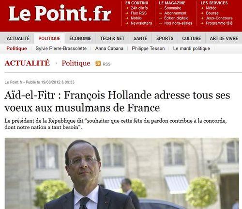 Aïd-el-Fitr-Voeux de F Hollande - 19.08.2012