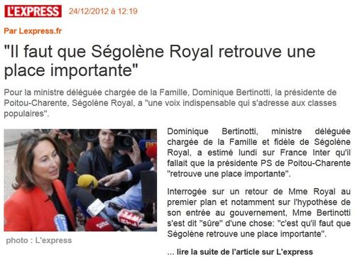 Royal le retour en 2013 -L'EXPRESS 24.12.2012