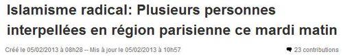 Islamisme radical en région parisienne - 04.02.2013
