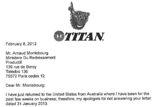 Titan - lettre à Montebourg - 8 fév 2013