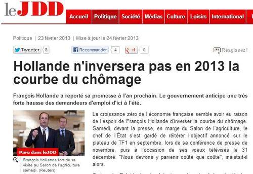 Courbe du chômage pas inversée fin 2013 - 22.02.2013