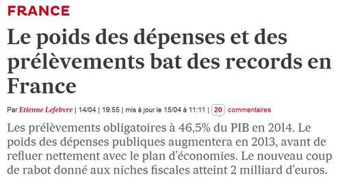 Record Dépenses et Prélèvements - 15.04.2013