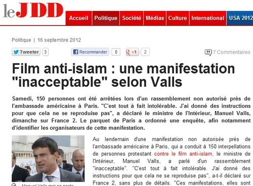Film anti-islam inacceptable seon Valls