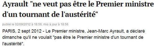 Ayrault pas le premier ministre de l'austérité
