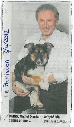 Drucker a adopté son chien depuis un mois