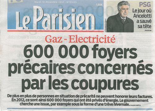 LE PARISIEN-600 000 foyers précaires-18.12.2012