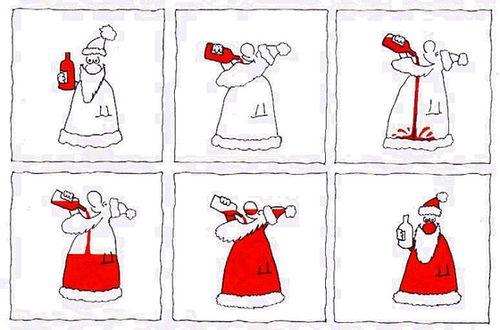 Le Père Noël boit rouge