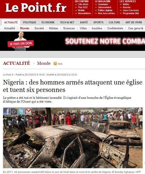 Nigeria-une église attaquée à Noël