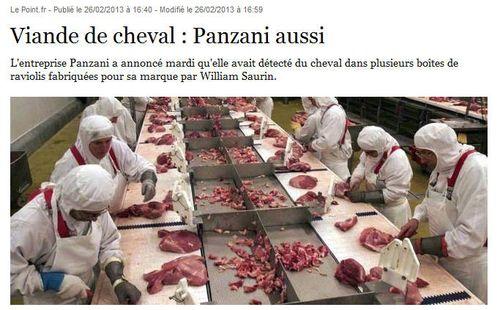 Panzani aussi viande de cheval - 25.02.2013