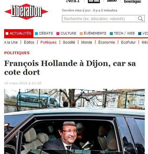 Hollande à Dijon car sa cote dort