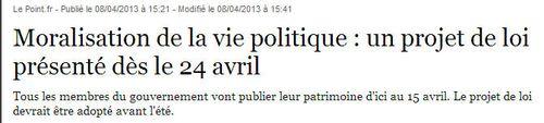 Moralisation vie politique - projet de Loi - 08.10.2013