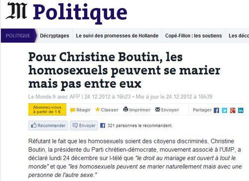 Christine Boutin les homosexuels peuvent se marier - 24.12.2012
