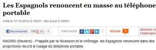 ESPAGNOLS renoncent en masse à leur tél mobile - 17.12.2012